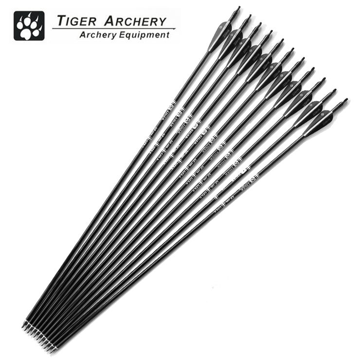 12pcs 30inch Fiberglass Hunting Arrows Archery Spine 500 With Black White Feather For Compound Bow and Recurve Bow Arrow Sport