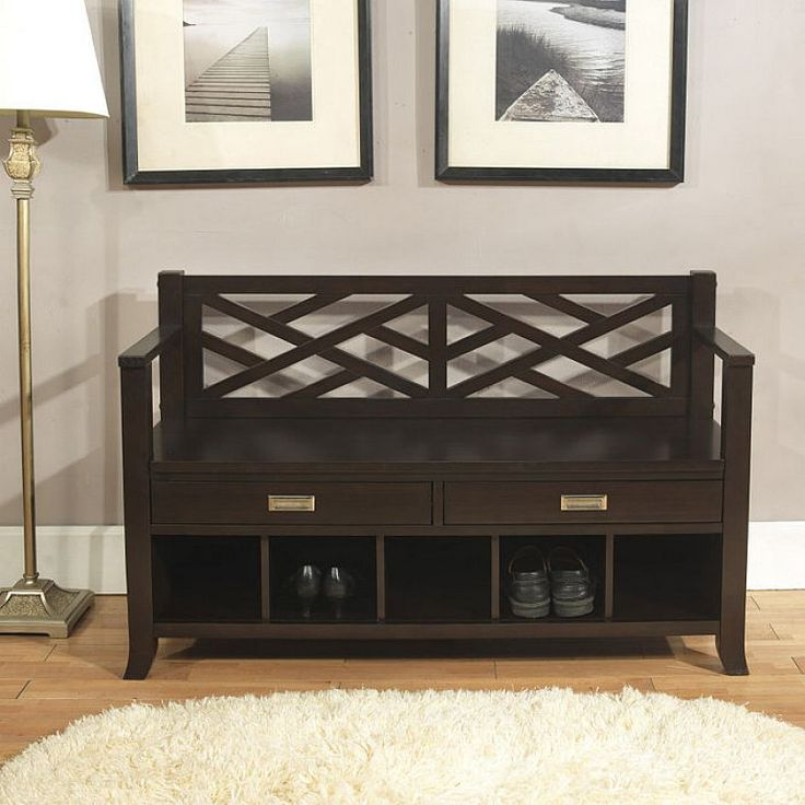 brooklyn max dover entryway storage bench with drawers and cubbies brown