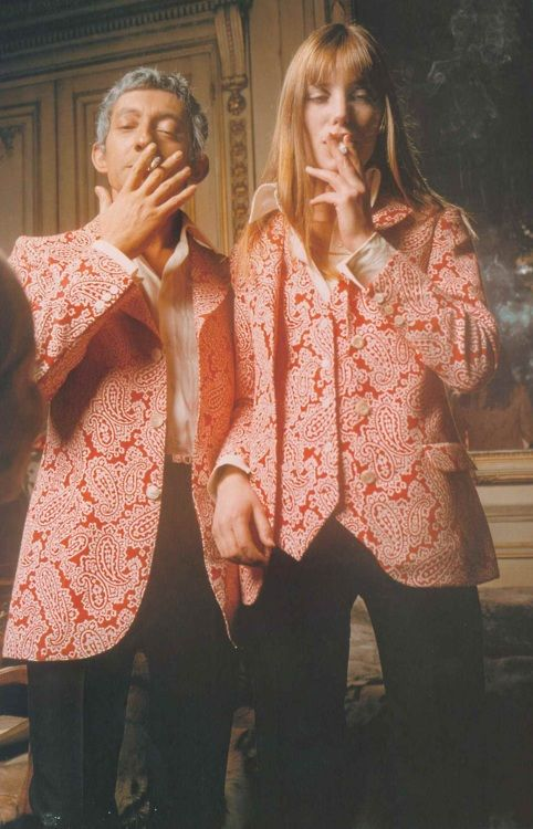 Serge Gainsbourg and Jane Birkin wearing Cerruti creations at their apartment on Rue de Verneuil, Paris, 1969