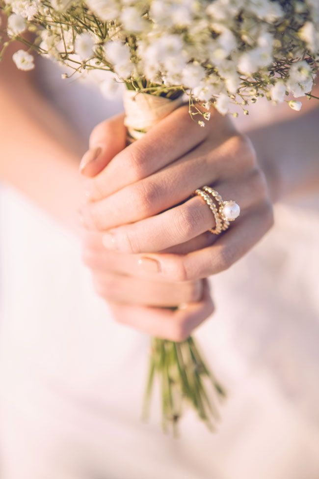 Pearl Engagement Ring | Boho Chic Desert Bride In New Mexico's White Sands National Monument | Photograph by Tony Gambino Photography  http://storyboardwedding.com/boho-chic-desert-bride-new-mexico-white-sands-national-monument/