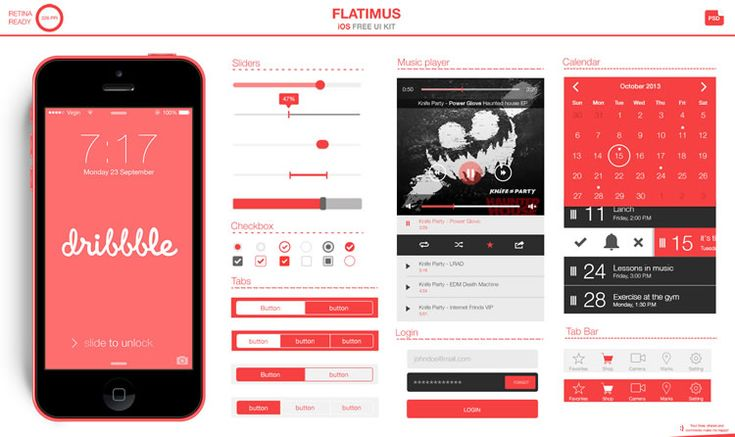 Try your hand at flat mobile design with this freebie UI kit.