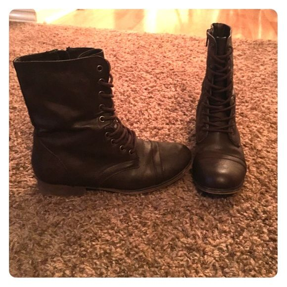 Dark brown combat boots for girls