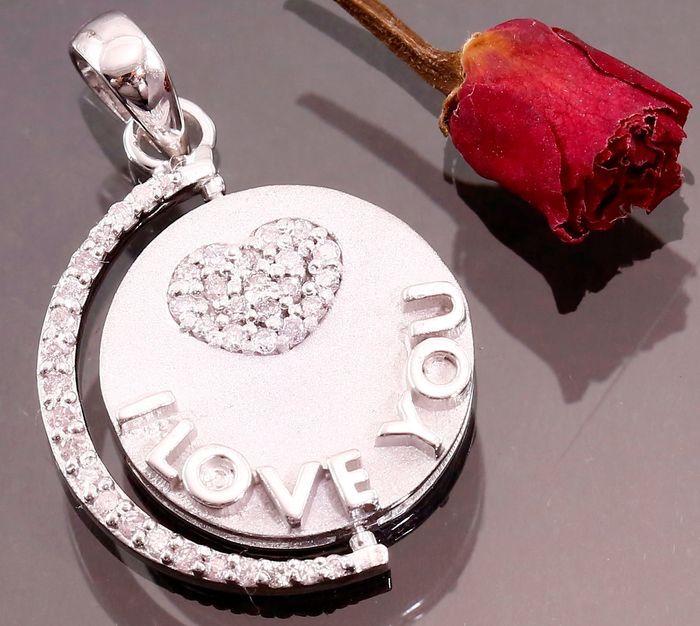 """""""I Love you"""" Revolving hanger in witgoud gecertificeerd 0.82 ct met roze diamanten - 20 mm.  EUR 1.00  Meer informatie"""