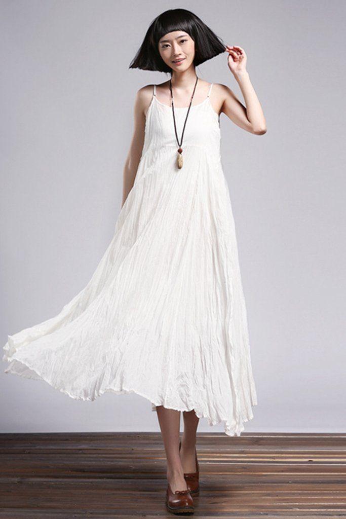 f5e7dd55a5 Summer Cotton Linen Loose Ruffle Strap Beach Dresses Q1553