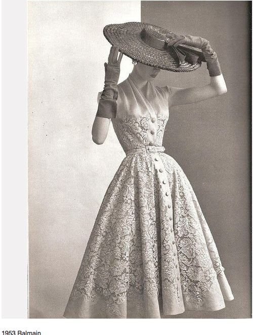 that hat!  that dress!  I quess I should of been born back in the day: Vintagefashion, Dresses Style, Vintage Lace, Vintage Fashion, The Dresses, 1950 S, 1950S Fashion, Lace Dresses, Pierre Balmain