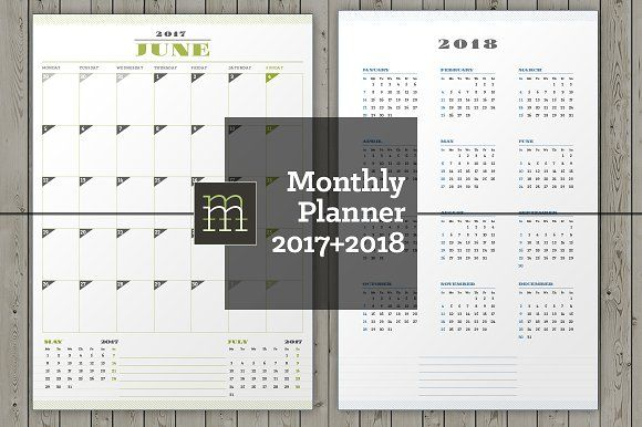 Monthly Planner 2017-2018 (MP11) by mikhailmorosin on @creativemarket
