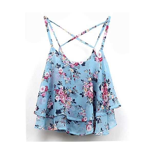 SheIn(sheinside) Blue Spaghetti Strap Floral Chiffon Cami Top ($8.99) ❤ liked on Polyvore featuring tops, shirts, crop tops, tanks, blue, crop top, floral crop top, crop tank top, floral tank top and floral shirt