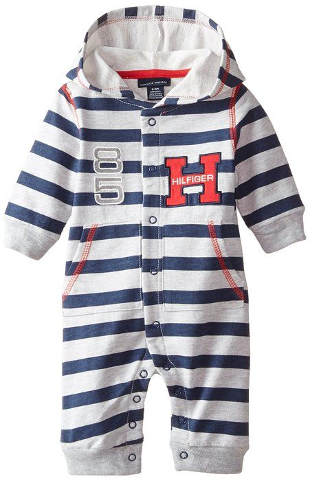 Tommy Hilfiger Baby-Boys Newborn Striped Coverall with Hoody, Blue, 3-9 Months