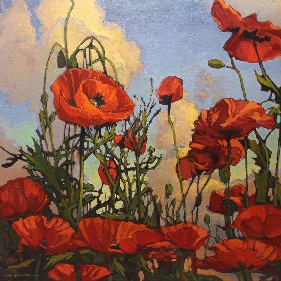 """In The Poppy Field"" - 24""x 24"" - Jan Schmuckal - Impressionist - Original Oil Painting - POPPIES - Arts & Crafts - Bungalow"