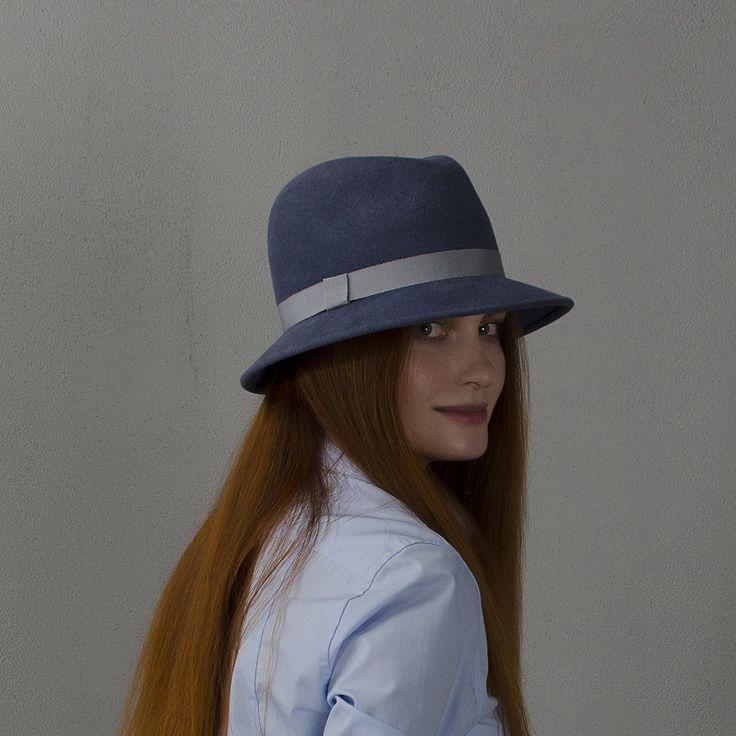 Cadet grey fedora hat / Шляпа федора серо-голубого цвета fotralehats.com фото photo hats lookbook