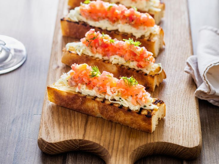This recipe is a quirky take on fish fingers, with the fish being salmon crudo and the fingers being the Italian flat bread schiacciata. It's a dinner party-worthy snack: simple, fresh and tasty