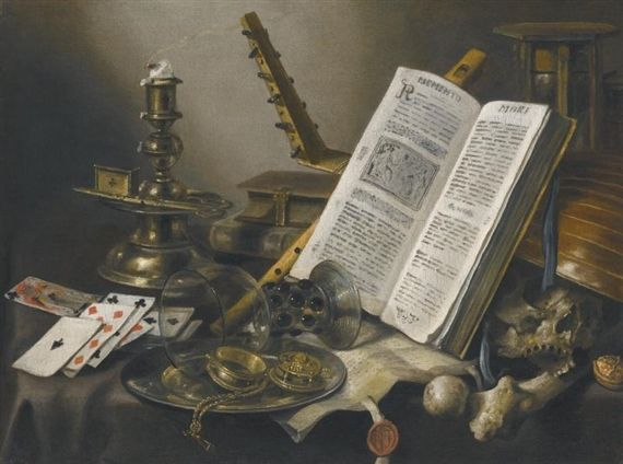 Pieter Claesz - VANITAS STILL LIFE WITH A BOOK, A GLASS ROEMER, A SKULL, A LUTE, A PACK OF CARDS AND PIECE OF PARCHMENT ON A TABLE; Medium: oil on...
