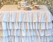 Natural and Cream Burlap Ruffled Tablecloth by PaulaAndErika