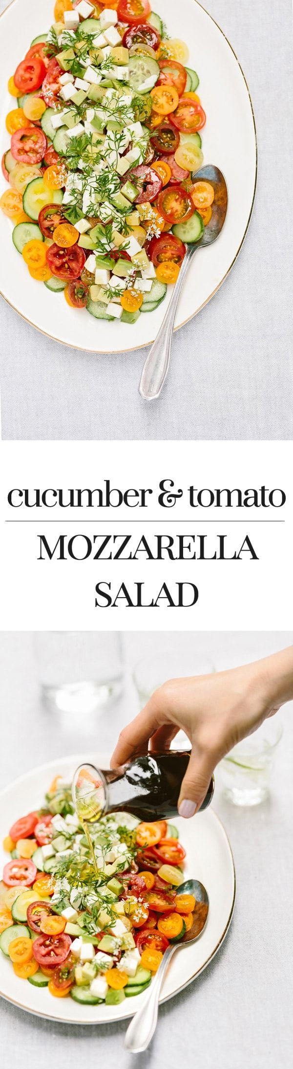 Cucumber Tomato Mozzarella Salad with Homemade Balsamic Vinegar: An easy to make vegetarian salad recipe made with the freshest summer produce. #recipe #salad #tomatoes