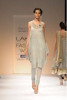 Payal Singhal Indian Wear Collection : GREY MUKAISH COWL STYLE SUIT
