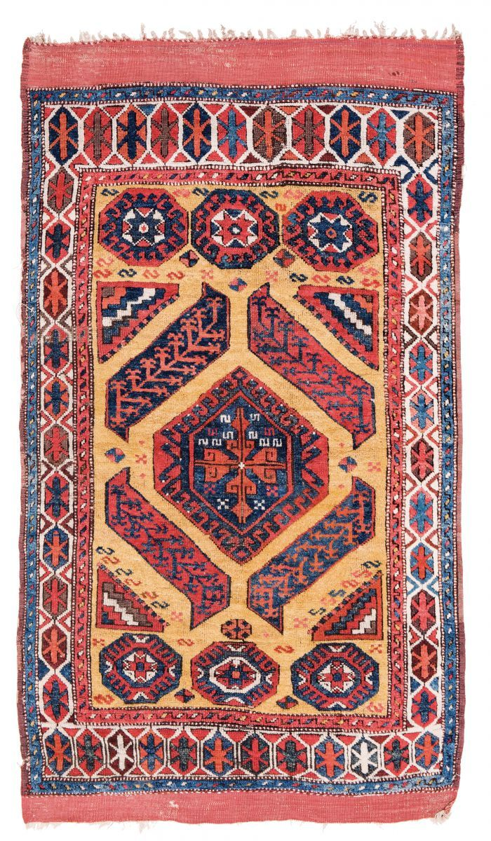 Konya Turkey mid-19th century 6 ft. 10in. x 4ft. 4in., 210 x 133 cm Condition: good, brown corroded   Wool pile, wool warp, wool weft  Estimate: € 8.000 – 12.000
