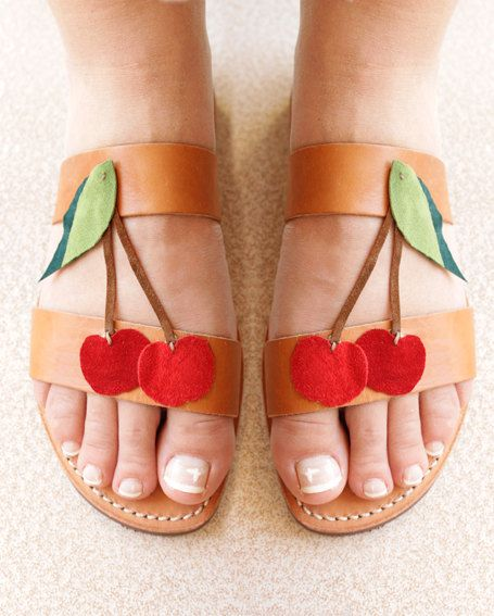 Summer red cherry-Handmade leather sandals....cute cherry!