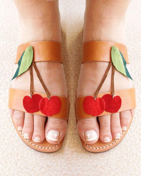 Summer red cherryHandmade leather sandals by anoushebarzegar, €55.00