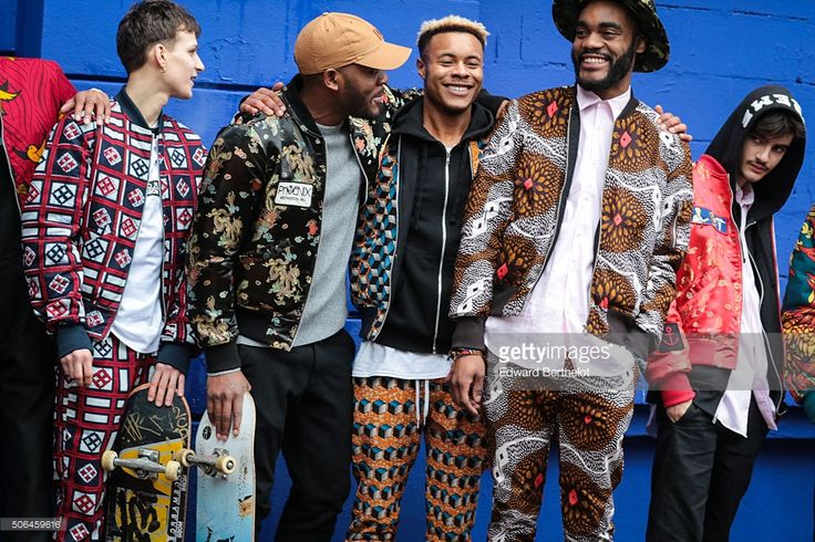 Guests wearing Atelier beaurepaire full outfits before the Etudes show during Paris Fashion Week Menswear Fall Winter 2016/2017 on January 23, 2016 in Paris, France.