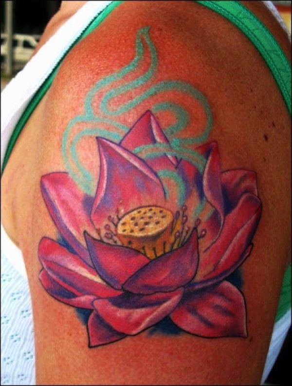Hippie lotus flower tattoo design - This wouldn't look so nice on a tanned skin. Looks better on fairer skin color. #TattooModels #tattoo