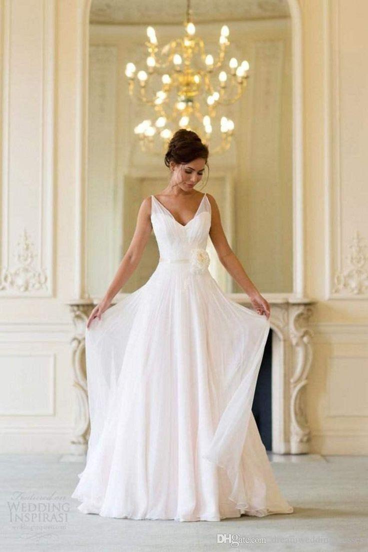 Grecian vestidos de novia de playa sin espalda cuello en V que fluye Vintage Boho vestido nupcial una línea de estilo vintage griego de la diosa de la diosa de la vendimia 2016