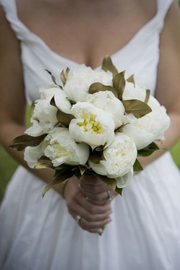 white peony bouquet with lots of foliage for interest.