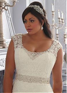 Elegant Organza Scoop Neckline Natural Waistline A-line Plus Size Wedding Dress With Lace Appliques & Rhinestones