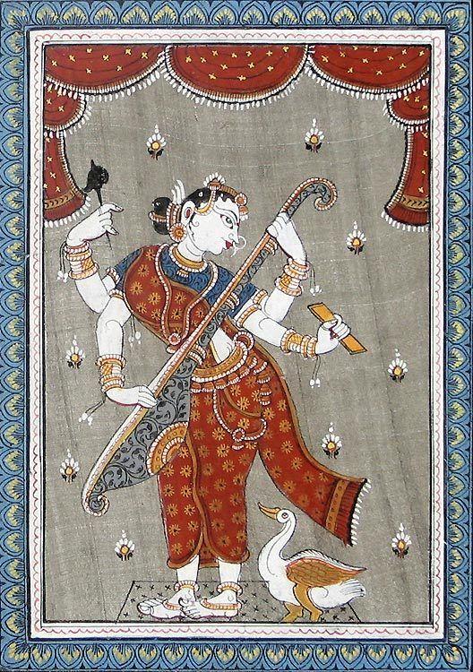 Patachitra depiction (from the state of Orissa) of Goddess Saraswathi