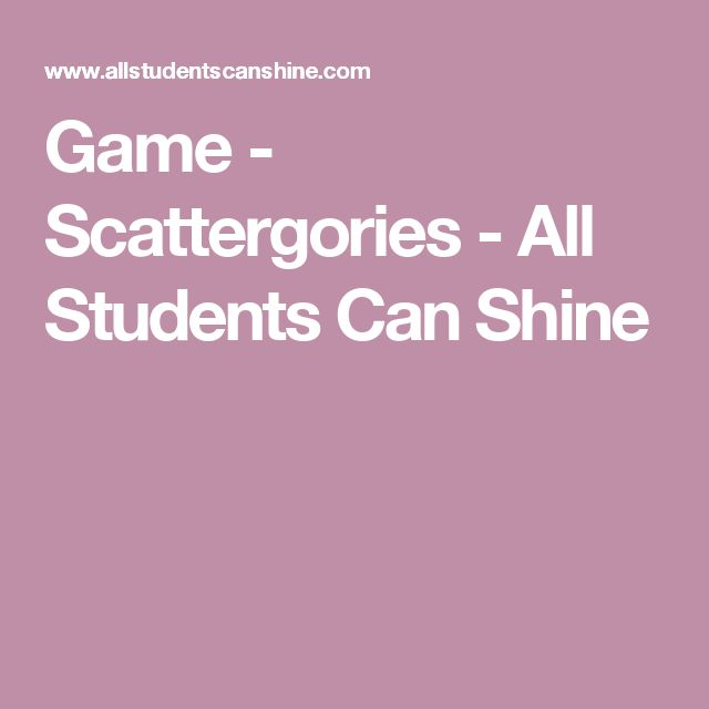 Game - Scattergories - All Students Can Shine