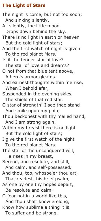 The Light of the Stars by Henry Wadsworth Longfellow ..*
