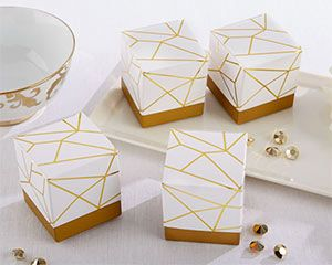 White and Gold Geometric Favor Box (Set of 24) – My Wedding Favors