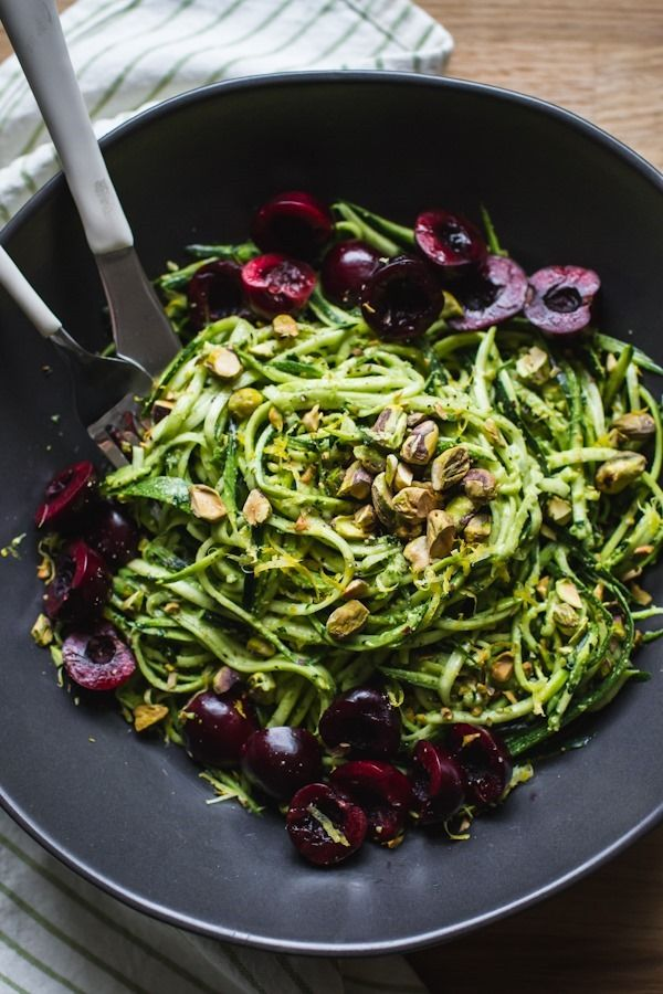 Pistachio Kale Pesto with Zucchini Noodles + Cherries | edibleperspective.com #vegan #glutenfree