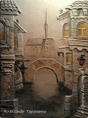 Картина панно рисунок Лепка Картина-барельеф  Венеция Гипс фото 1
