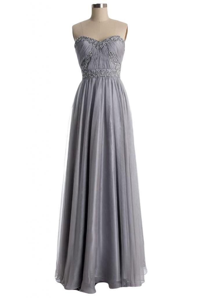 Lindo nupcial do querido Chiffon Evening Partido Prom vestidos longos cinzentos on Wanelo