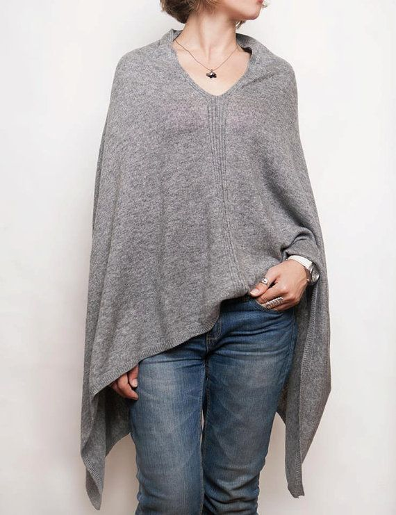 Stylish cashmere poncho from Kashmir. Light, soft, but very warm and comfortable poncho for connoisseurs of ethnic style. Great idea for gift or for girld who loves boho style. Size: S-M #Graycashmereponcho #poncho #cashmereponchos #cashmerecape #knittedponcho #womanwrap #warmscarf #bohostyleponcho