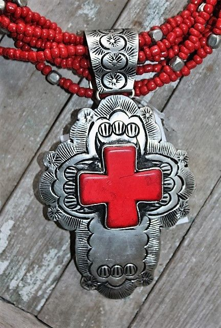 Guadalupe Silver Cross with Red Pendant