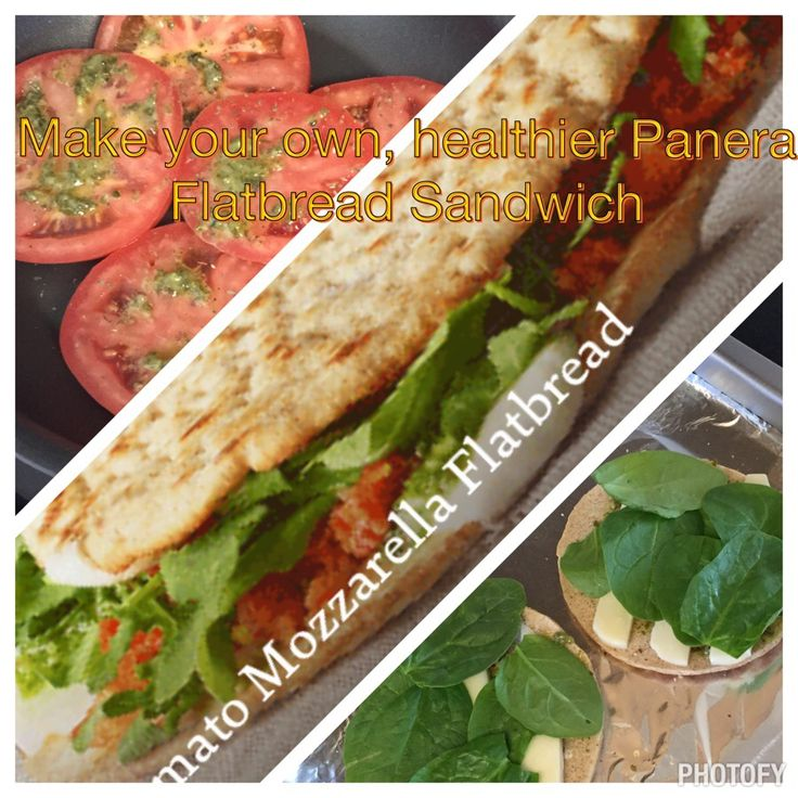 Make your own Panera Tomato Mozzarella Flatbread! #photofy Tomato, (I add avocado b/c YUM!), baby spinach, flatbread buns, basil, basil pesto, mozzarella cheese, and a toaster oven.  Slice tomatoes and put basil seasoning on tomatoes and cook in skillet for about 4 min to soften & warm. Put foil over tray for toaster oven. Do not spray. Spread thin layer of pesto on both sides of bread. Slice cheese and lay on both sides of bread. Put spinach, smashed avocado, tomatoes and pesto on and…