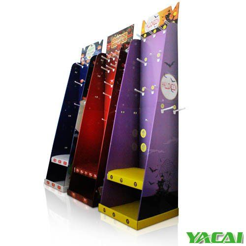 Full printed #Cardboard #Display rack with hangers suitable for festivals These Display stand serious are for Christmas or Halloween festival with hooks and trays to demonstrate its products helping make your products and your company to increase sales volume. http://www.popyacai.com/Cardboard_Display/Cardboard_Countertop_Displays/POP_christmas_display_stand.html
