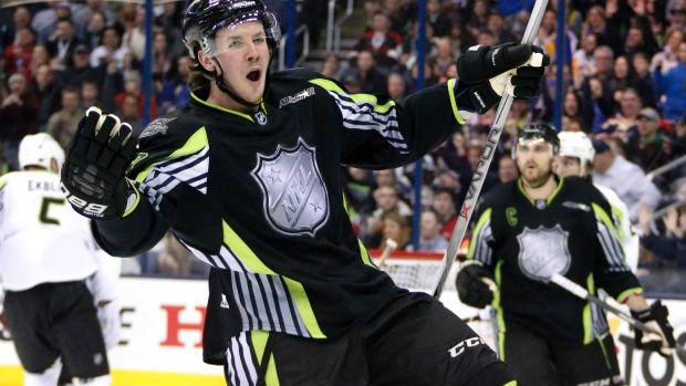 Team Foligno's Ryan Johansen is sporting a snappy neon green themed jersey for the 2015 NHL All-Star game in Columbus, Ohio, Sunday.