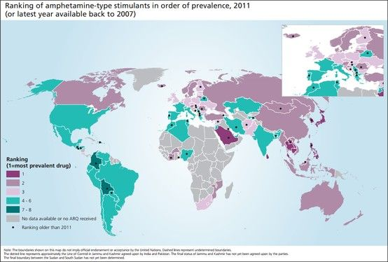 United Nations ranking of amphetamine  use globally  http://www.unodc.org/unodc/secured/wdr/wdr2013/Ranking_all_drugs.pdf