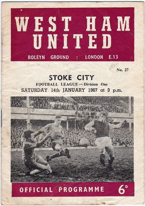 Vintage Football (soccer) Programme - West Ham United v Stoke City, 1966/67 season #football #soccer #westham