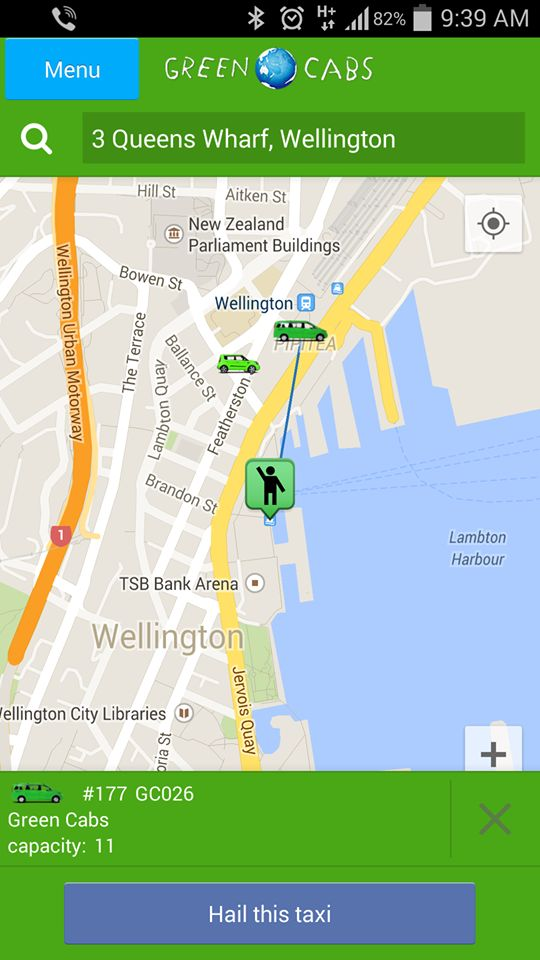 Green Cabs app track your driver