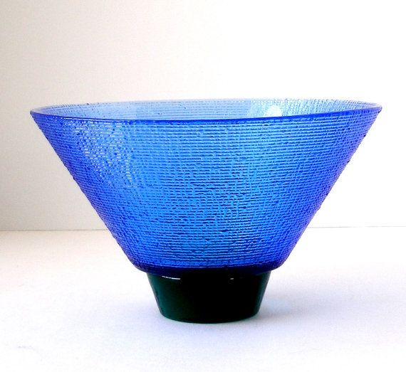 Lg Hadeland Norway Blue Green Texture Art Glass Bowl by FultonLane, $65.00