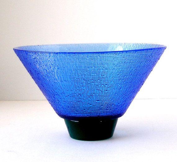 Lg Hadeland Norway Blue Green Texture Art Glass Bowl by FultonLane, $65.00