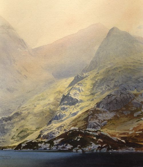 Llyn Bochlwyd and the Gribin, an original watercolour painting by Rob Piercy