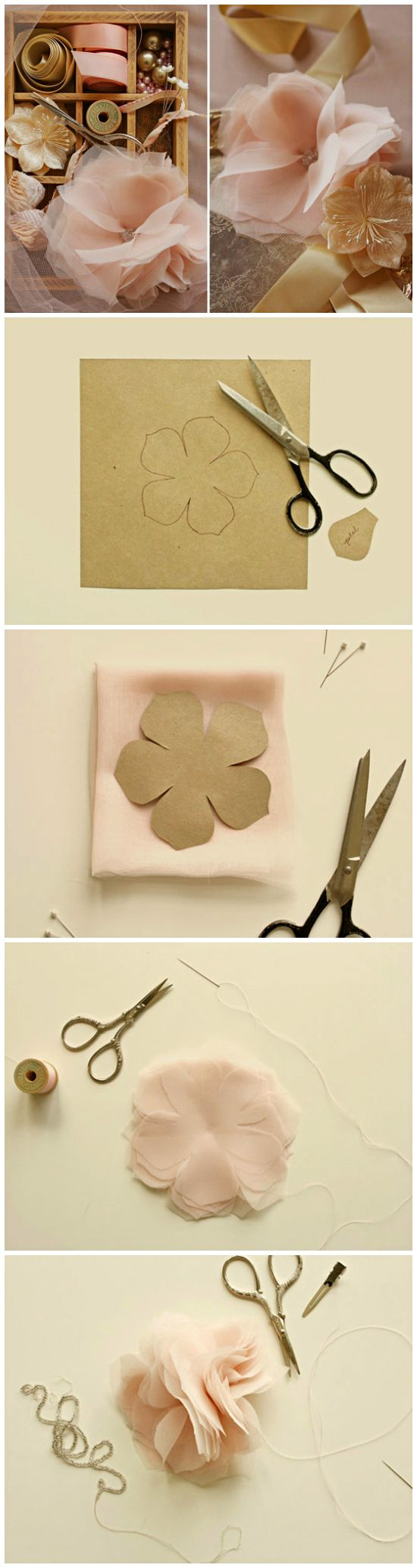 DIY ● Tutorial ● Chiffon and Tulle flowers. Can't wait to try these. I would us a broach or button for middle of the flower.