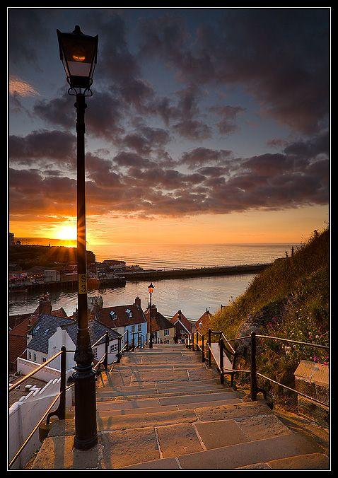 Sunset Drenched Cobbled Steps - Whitby, Yorkshire Coast.