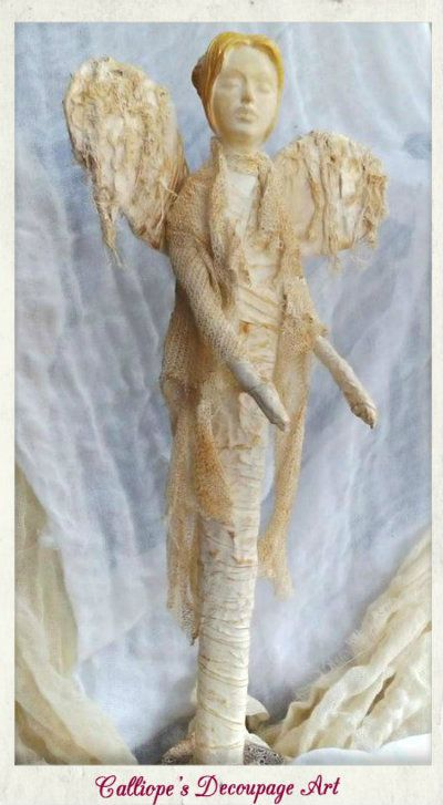 Γυναικείο αγαλματίδιο σε μορφή αγγέλου | Calliope's Decoupage Art
