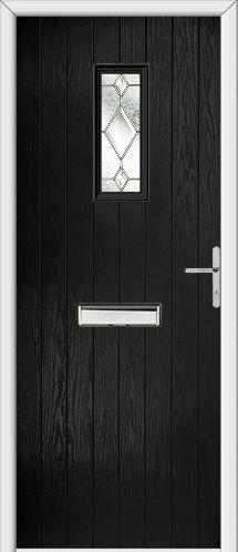 Black Composite Door - Edinburgh Cottage door with Chrome Accessories and matching glass. Make sure your New Door is an Adoored Composite Door!
