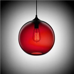 (En Stock) Moderne, En verre minimaliste Lustre Globe pendentif avec 1 Lumière Couleur Rouge foncé